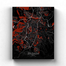 Load image into Gallery viewer, Mapospheres Jerusalem Red dark full page design canvas city map
