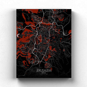Mapospheres Jerusalem Red dark full page design canvas city map