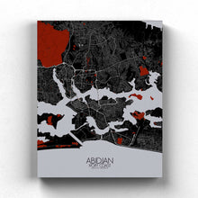 Load image into Gallery viewer, Mapospheres Abidjan Red dark full page design canvas city map