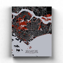 Load image into Gallery viewer, Mapospheres Siingapore Red dark full page design canvas city map
