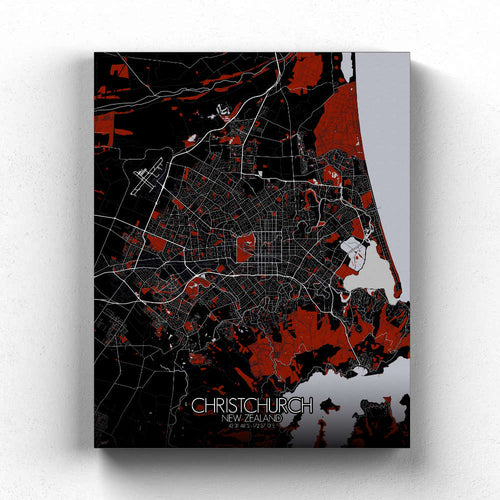 Mapospheres Christchurch Red dark full page design canvas city map