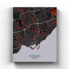 Load image into Gallery viewer, Mapospheres Toronto Red dark full page design canvas city map