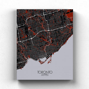 Mapospheres Toronto Red dark full page design canvas city map