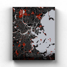 Load image into Gallery viewer, Mapospheres Boston Red dark full page design canvas city map