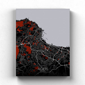 Mapospheres Algiers Red dark full page design poster city map