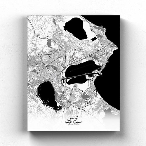 Mapospheres Tunis Black and White full page design poster city map