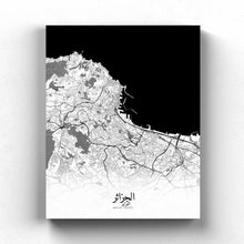 Load image into Gallery viewer, Mapospheres Algiers Black and White full page design poster city map