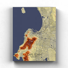 Load image into Gallery viewer, Mapospheres Cape Town Elevation map full page design canvas city map