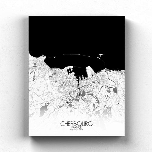 Mapospheres Cherbourg Black and White full page design canvas city map