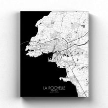 Load image into Gallery viewer, Mapospheres La Rochelle Black and White full page design canvas city map