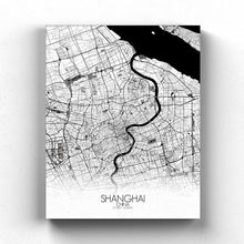 Load image into Gallery viewer, Mapospheres Shanghai Black and White full page design canvas city map