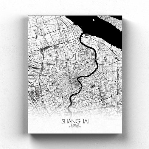 Mapospheres Shanghai Black and White full page design canvas city map