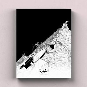 Mapospheres Alexandria Black and White full page design canvas city map