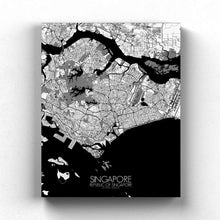 Load image into Gallery viewer, Mapospheres Siingapore Black and White full page design canvas city map