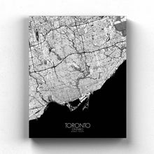 Load image into Gallery viewer, Mapospheres Toronto Black and White full page design canvas city map