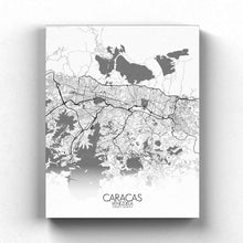 Load image into Gallery viewer, Mapospheres Caracas Black and White full page design canvas city map