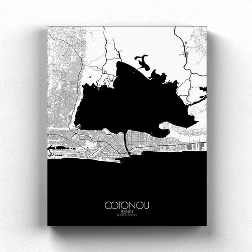 Mapospheres Cotonou Black and White full page design canvas city map
