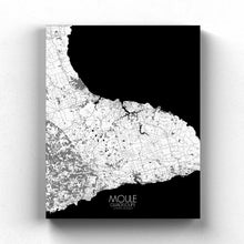 Load image into Gallery viewer, Mapospheres Moule Black and White full page design canvas city map