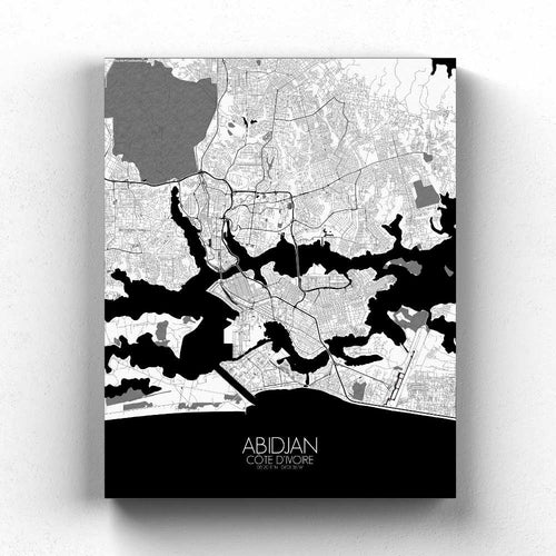Mapospheres Abidjan Black and White full page design canvas city map