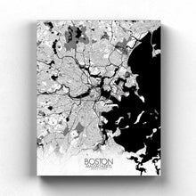 Load image into Gallery viewer, Mapospheres Boston Black and White full page design canvas city map