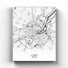Load image into Gallery viewer, Mapospheres Caen Black and White full page design canvas city map