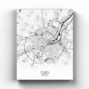 Mapospheres Caen Black and White full page design canvas city map
