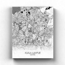 Load image into Gallery viewer, Mapospheres Kuala Lumpur KL Black and White full page design canvas city map