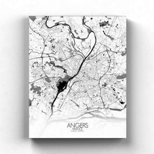 Load image into Gallery viewer, Mapospheres angers Black and White full page design canvas city map