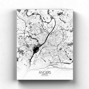 Mapospheres angers Black and White full page design canvas city map