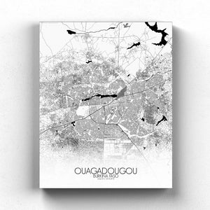 Mapospheres Ouagadougou Black and White full page design canvas city map