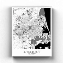Load image into Gallery viewer, Mapospheres Christchurch Black and White full page design canvas city map