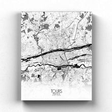 Load image into Gallery viewer, Mapospheres Tours Black and White full page design canvas city map