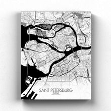 Load image into Gallery viewer, Mapospheres Saint Petersburg Black and White full page design canvas city map