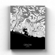 Load image into Gallery viewer, Mapospheres Genoa Black and White full page design canvas city map