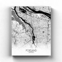Load image into Gallery viewer, Mapospheres Portland Black and White full page design canvas city map