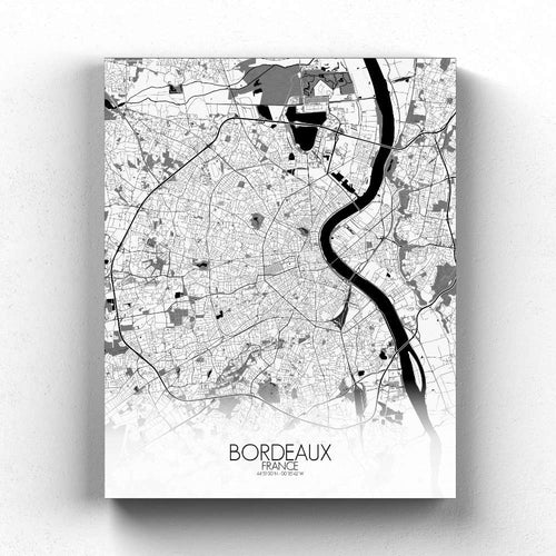 Mapospheres Bordeaux Black and White full page design canvas city map