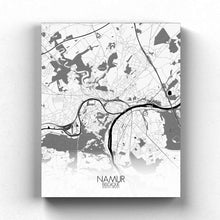 Load image into Gallery viewer, Mapospheres Namur Black and White full page design canvas city map