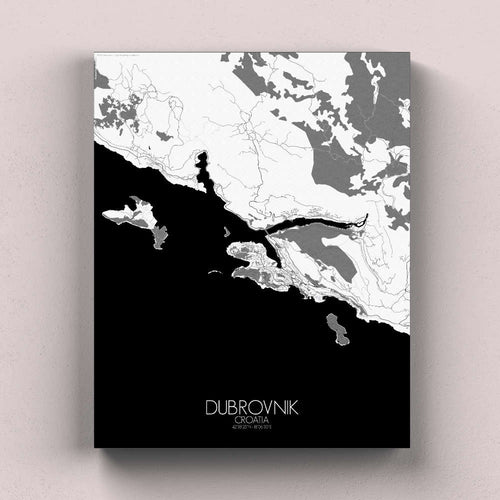 Mapospheres Dubrovnik Black and White full page design canvas city map