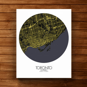Mapospheres Toronto Night round shape design canvas city map