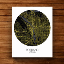 Load image into Gallery viewer, Mapospheres Portland Night round shape design canvas city map