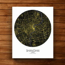 Load image into Gallery viewer, Mapospheres Shanghai Night round shape design canvas city map