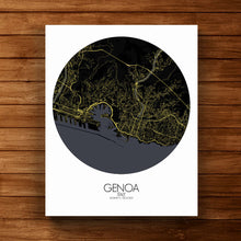 Load image into Gallery viewer, Mapospheres Genoa Night round shape design canvas city map