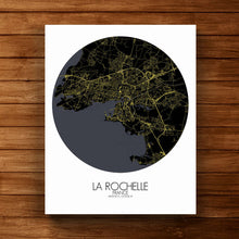 Load image into Gallery viewer, Mapospheres La Rochelle Night round shape design canvas city map