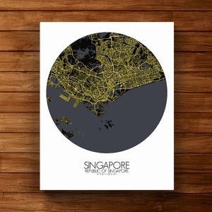 Mapospheres Siingapore Night round shape design canvas city map