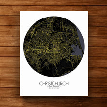 Load image into Gallery viewer, Mapospheres Christchurch Night round shape design canvas city map
