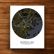 Load image into Gallery viewer, Mapospheres Boston Night round shape design canvas city map