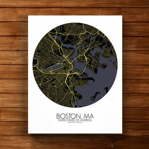 Mapospheres Boston Night round shape design canvas city map