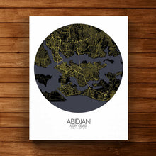 Load image into Gallery viewer, Mapospheres Abidjan Night round shape design canvas city map