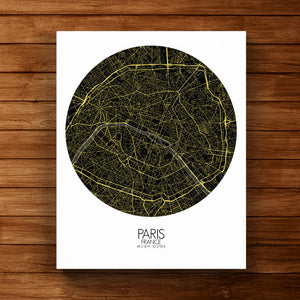 Mapospheres Paris Night Design full page design canvas city map