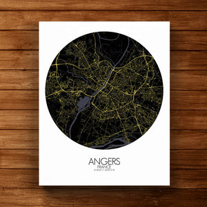 Mapospheres angers Night round shape design canvas city map